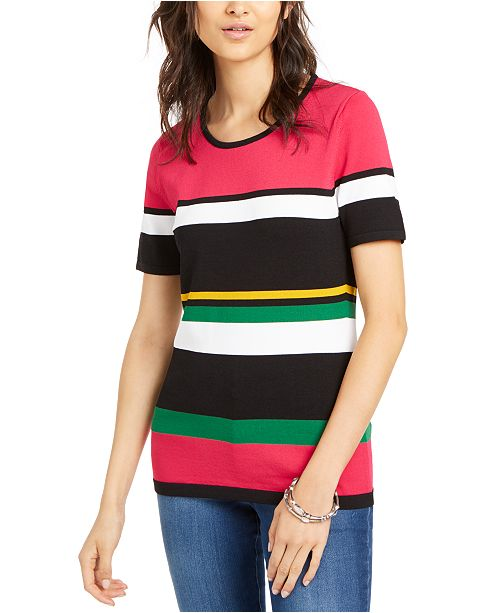 INC International Concepts INC Petite Short-Sleeve Striped Sweater, Created for Macy's