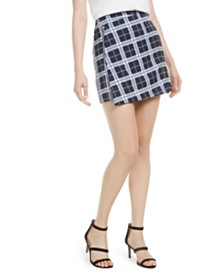 Bar III Asymmetrical Plaid Mini Skirt, Created for Macy's