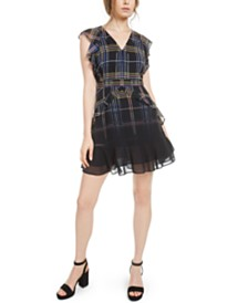 Bar III Ruffled Plaid Mini Dress, Created for Macy's