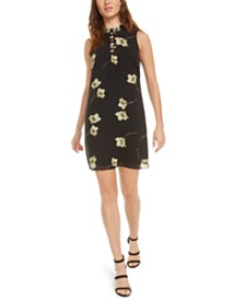 Bar III Lace-Up Floral Mini Dress, Created for Macy's