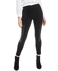 Faux-Leather-Patch Leggings, Created for Macy's