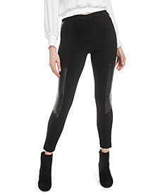 Bar III Faux-Leather-Patch Leggings, Created for Macy's