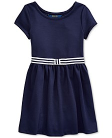 Little Girls Ponte Roma Bow Dress