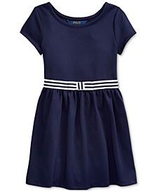 Little Girls Ponte Roma Bow Dress