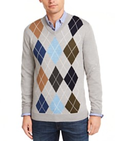 Club Room Men's Regular-Fit Argyle Panel Merino Sweater, Created for Macy's