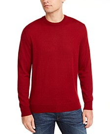 Men's Solid Merino Wool Crew Neck Sweater, Created for Macy's