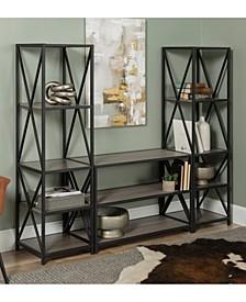 3 Piece Rustic Industrial Bookcase Set