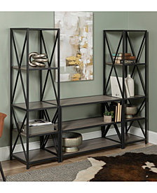 Walker Edison 3 Piece Rustic Industrial Bookcase Set