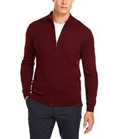 Men's Solid Full-Zip Mock-Neck Merino Sweater, Created for Macy's