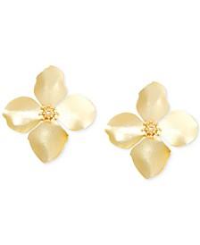Gold-Tone Painted Metal Flower Stud Earrings