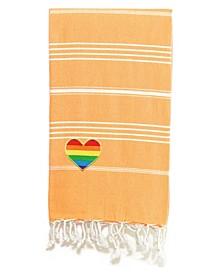 100% Turkish Cotton Lucky Cheerful Rainbow Heart Pestemal Beach Towel