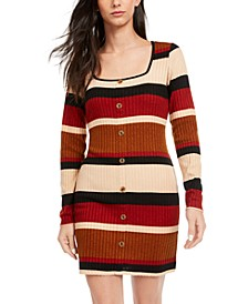 Juniors' Striped Button-Front Knit Dress