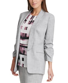 DKNY Ruched-Sleeve Open-Front Blazer