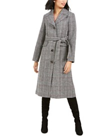 kate spade new york Plaid Belted Maxi Coat