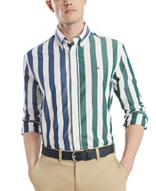 Tommy Hilfiger Men's Classic-Fit Maiden Bar Striped Shirt, Created for Macy's