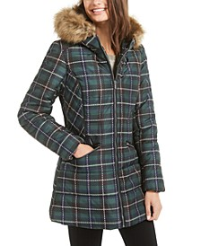 Juniors' Faux-Fur-Trim Hooded Puffer Coat