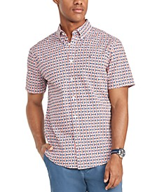 Men's Custom-Fit Interlocking Print Short Sleeve Shirt, Created for Macy's