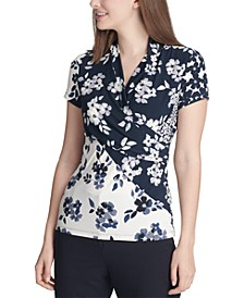 Floral Printed Side-Ruched Top
