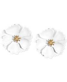 Gold-Tone & Suede Painted Finish Camellia Stud Earrings