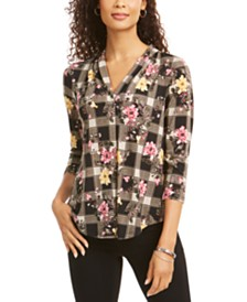 Charter Club Floral V-Neck Top, Created for Macy's
