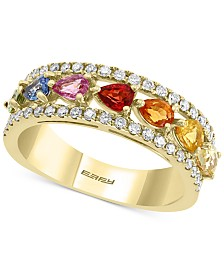 EFFY® Multi-Sapphire (1-5/8 ct. t.w.) & Diamond (1/3 ct. t.w.) Band in 14k Gold