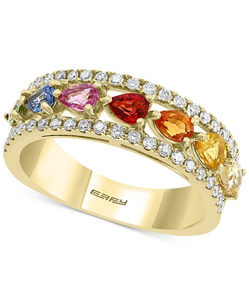 EFFY Collection EFFY® Multi-Sapphire (1-5/8 ct. t.w.) & Diamond (1/3 ct. t.w.) Band in 14k Gold
