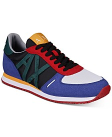Armani Exchange Men's Low Top Retro Logo Sneakers