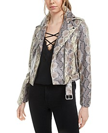 Snake-Print Faux-Leather Jacket, Created for Macy's