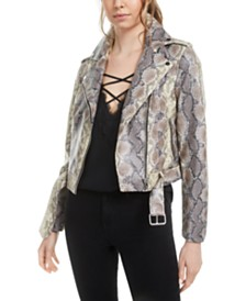 Bar III Snake-Print Faux-Leather Jacket, Created for Macy's