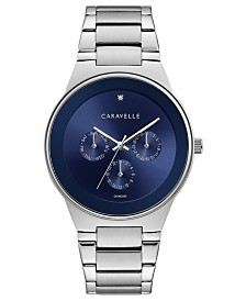 Caravelle Designed By Bulova Men's Diamond-Accent Stainless Steel Bracelet Watch 40mm