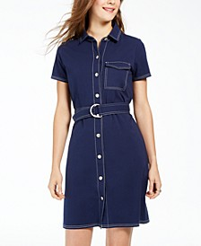 Juniors' Contrast-Stitch Dress