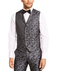 Tallia Men's Charcoal Black Floral Vest