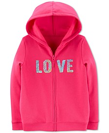 Little & Big Girls Fleece Flip Sequin Love Hoodie
