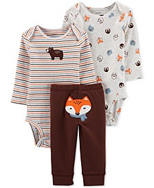 Baby Boys 3-Pc. Cotton Bodysuits & Fox Pants Set