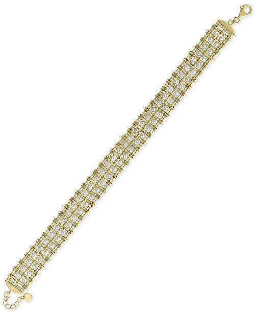 EFFY Collection EFFY® Cultured Freshwater Pearl (3-1/2mm) Link Bracelet in 18k Gold-Plated Sterling Silver