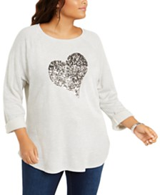 I.N.C. Sequined Heart Top, Created for Macy's