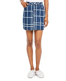 Juniors' Plaid Denim Skirt