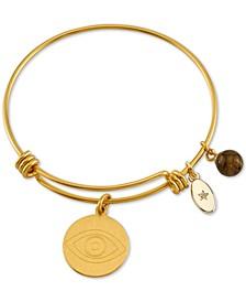 Evil Eye Charm Bangle Bracelet in Gold-Tone Stainless Steel