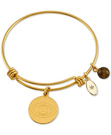 Unwritten Evil Eye Charm Bangle Bracelet in Gold-Tone Stainless Steel