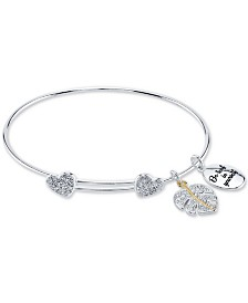 Unwritten Crystal Heart & Leaf Charm Bangle Bracelet in Two-Tone Stainless Steel