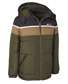 Big Boys Hooded Colorblocked Puffer Jacket With Hat