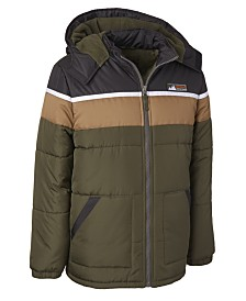 Ixtreme Big Boys Hooded Colorblocked Puffer Jacket With Hat