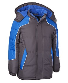 Wippette Toddler Boys Hooded Colorblocked Puffer Jacket With Hat