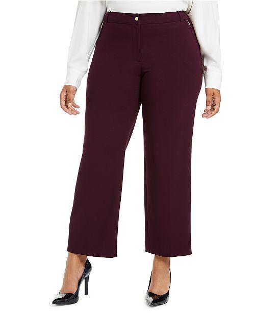 Calvin Klein Plus Size Zipper-Pocket Ankle Pants