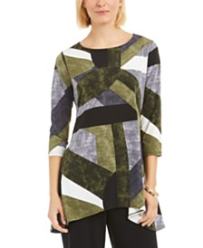 Alfani 3/4-Sleeve Geometric-Print Top, Created for Macy's