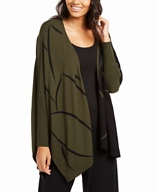 Alfani Two-Tone Open-Front Poncho Cardigan, Created for Macy's