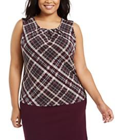 Calvin Klein Plus Size Plaid Pleated-Neck Top