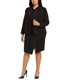 Calvin Klein Plus Size Studded Jacket, Tie-Neck Top & Studded Asymmetrical Skirt