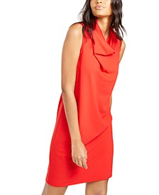 Cowlneck Crepe Sheath Dress