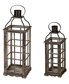 Set of 2 Oversized Wood and Metal Lantern